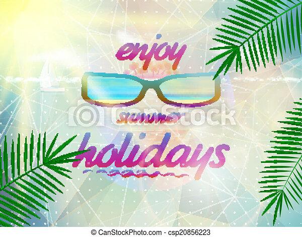 Cielo de verano con sol con gafas de sol. - csp20856223