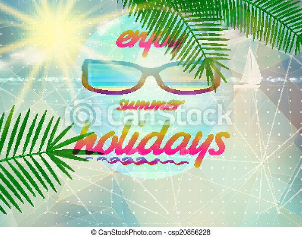 Cielo de verano con sol con gafas de sol. - csp20856228