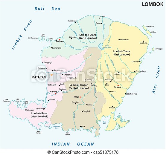 Llombok Administrative And Political Map Lombok Vectors - Indonesia political map