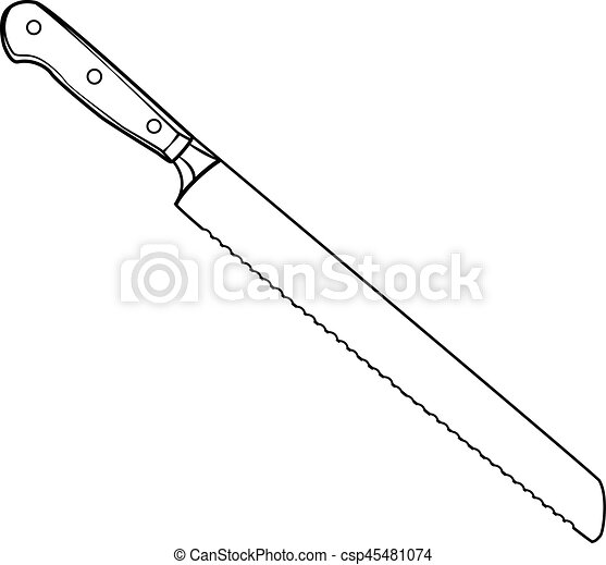 Llustration of isolated bread knife cartoon drawing ...