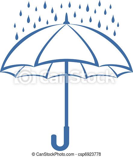 Umbrella y lluvia, pictograma - csp6923778