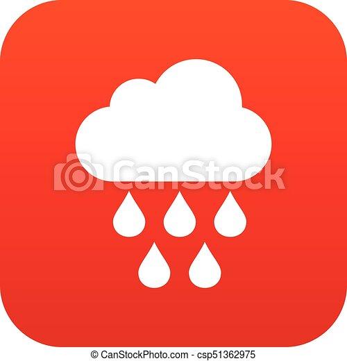 Nube con gotas de lluvia rojo icono digital - csp51362975