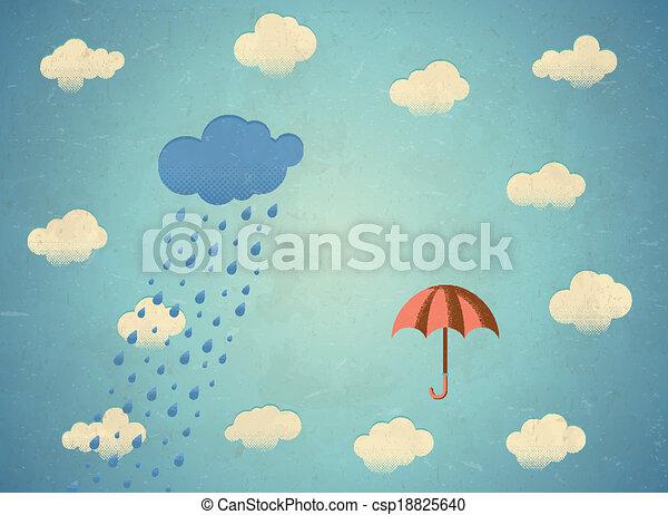 Tarjeta antigua con nubes de lluvia y paraguas - csp18825640