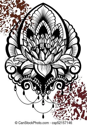 Lo60eps Vector Ornamental Lotus Flower Ethnic Arttattoo