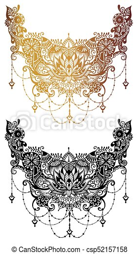 3fe80788c Lo86.eps. Henna tattoo flower template in indian style. ethnic floral  paisley - lotus. mehndi style.