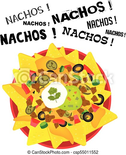 loaded cheese nacho plate with sour cream and guacamole with rh canstockphoto com nacho clipart free nacho libre clip art