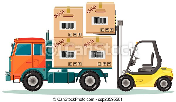 Loader Sinker Boxes in the Truck, Vector Illustration - csp23595581