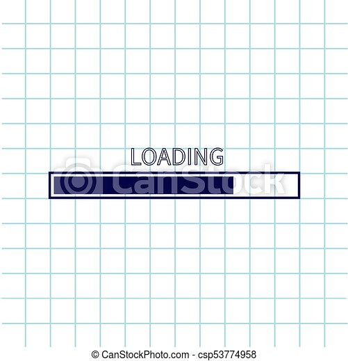 Loading progress status bar icon  Web design app download timer  Notebook  paper texture cell Squared blank sheet of copybook white background  Flat