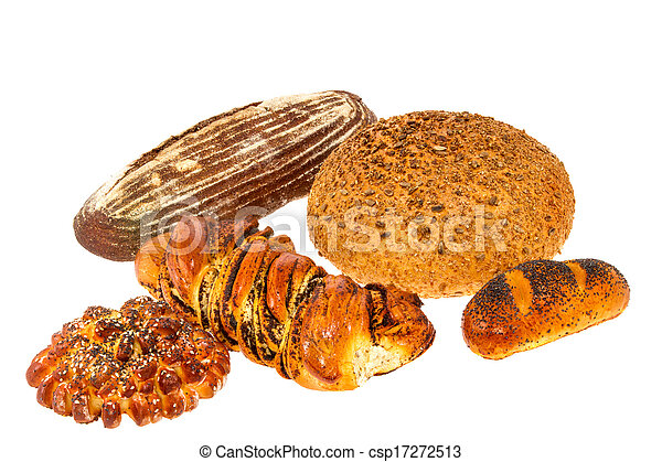 loaf of bread with sesame seeds and roll with poppy seeds - csp17272513