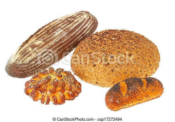 loaf of bread with sesame seeds and roll with poppy seeds - csp17272494