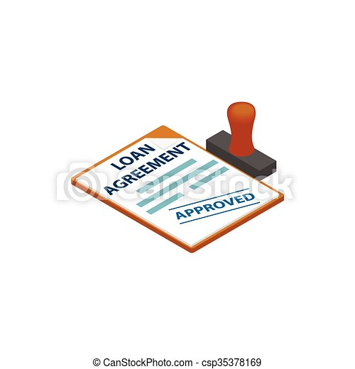 Loan Agreement With Loan Approved Stamp Icon In Isometric 3d Clip