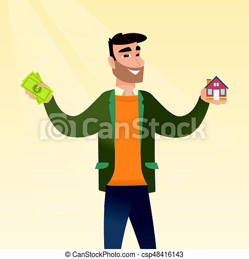 Hombre caucásico comprando casa gracias al préstamo. - csp48416143