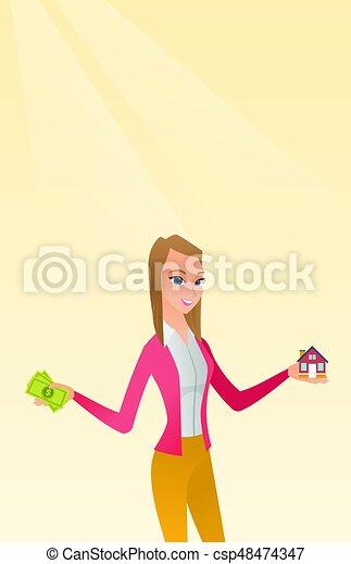Hombre caucásico comprando casa gracias al préstamo. - csp48474347