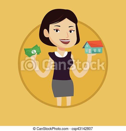 Mujer comprando casa gracias a préstamo. - csp43142807