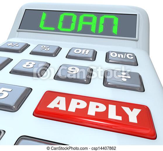 Loan Word Calculator Borrow Money Apply Financing Bank - csp14407862