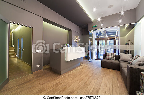 Lobby Entrance With Reception Desk In A Dental Clinic Modern