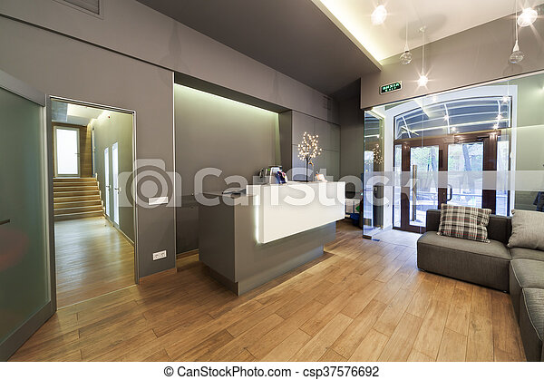 Lobby Entrance With Reception Desk In A Dental Clinic