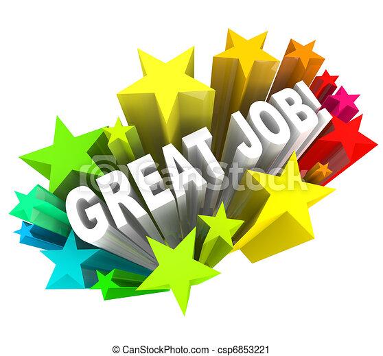 loben, groß, ziel, erfolgreich, vollendet, arbeit, wörter - csp6853221