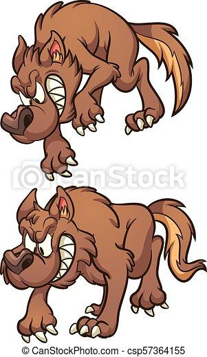 Lobo de dibujos animados - csp57364155