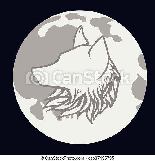 Lobo Luna Vector Lobo Ilustración Luna