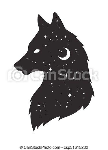 Lobo Silueta Estrellas Luna Isolated Diseño Creciente