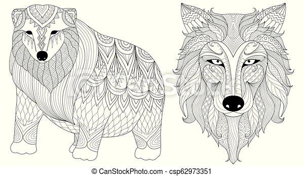 lobo, urso polar - csp62973351