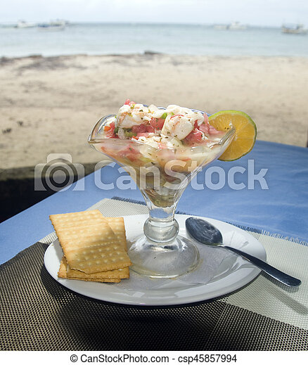 lobster ceviche photographed in Big Corn Island Nicaragua by beach - csp45857994