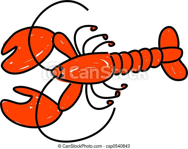 a red lobster isolated on white drawn in toddler art style rh canstockphoto com lobster clipart black and white lobster clipart black and white