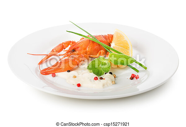 Lobster on a white plate - csp15271921