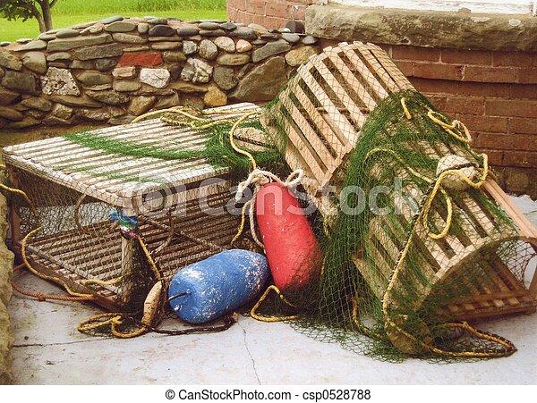 lobster traps, bouys - csp0528788