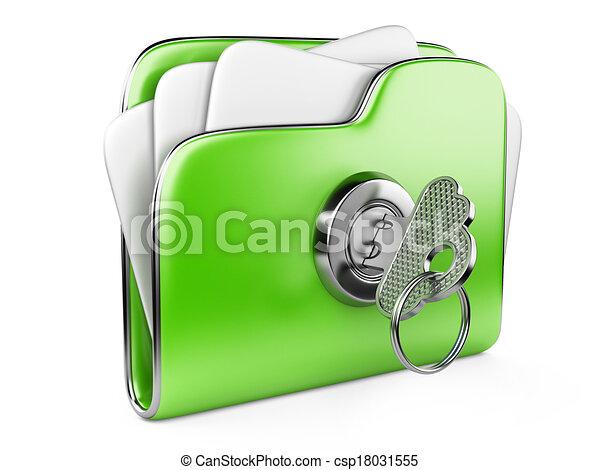 loc, büroordner, grün, sicher, files. - csp18031555