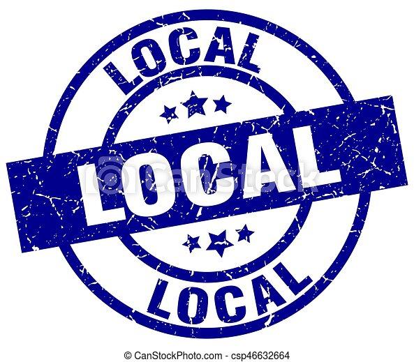 local blue round grunge stamp - csp46632664
