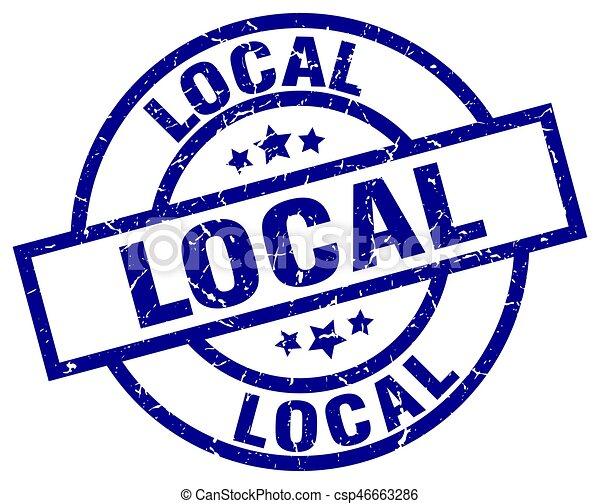 local blue round grunge stamp - csp46663286
