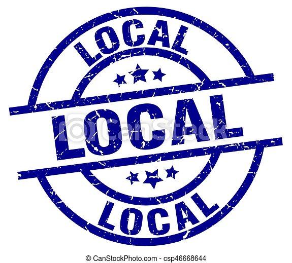 local blue round grunge stamp - csp46668644
