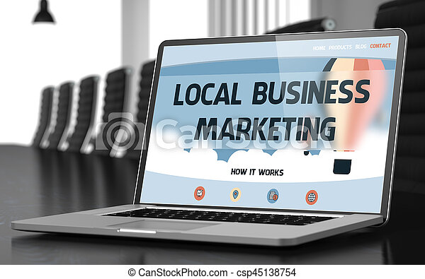 Local Business Marketing Concept on Laptop Screen. 3D. - csp45138754