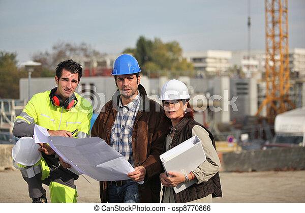local construção, trabalhando, tripulação - csp8770866