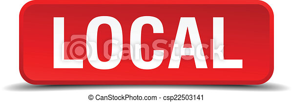 Local red 3d square button isolated on white - csp22503141