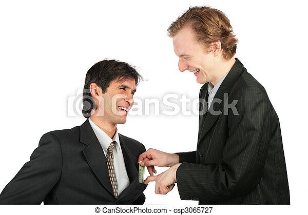 locali, soldi, uno, tasca, un altro, uomo affari - csp3065727