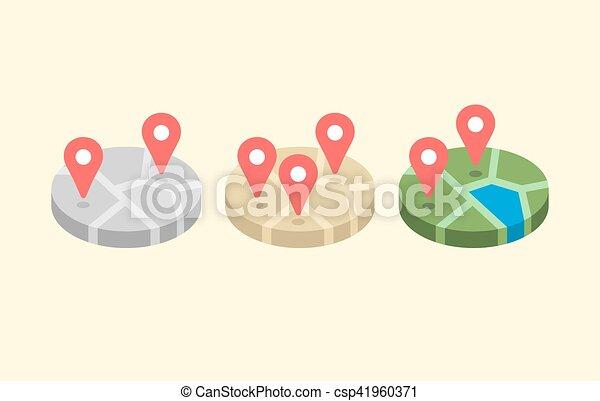 Location map flat design vector icon - csp41960371
