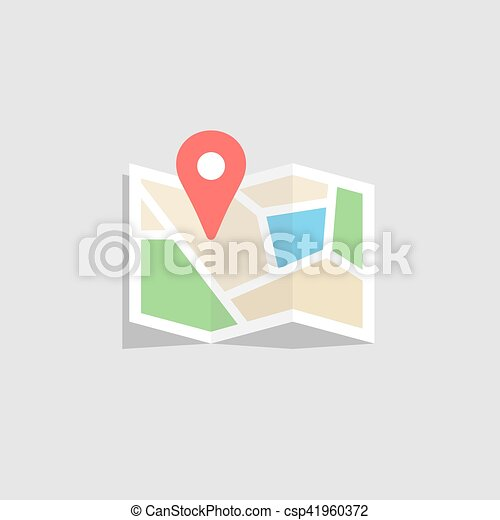 Location map flat design vector icon - csp41960372