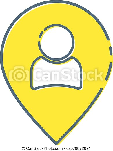 Location people icon vector or person map, pin, pointer, marker flat sign symbols logo illustration isolated on white background black color. Concepts objects for appointments, meetings illustration. - csp70872071