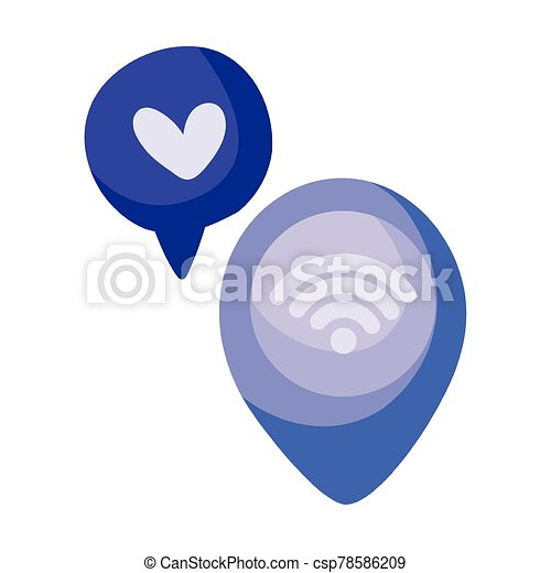 location pin and speech bubbles with heart icon, colorful design - csp78586209