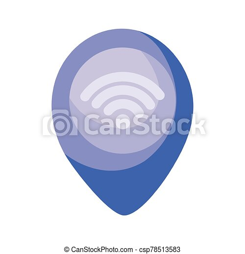 location pin with wireless icon, colorful design - csp78513583