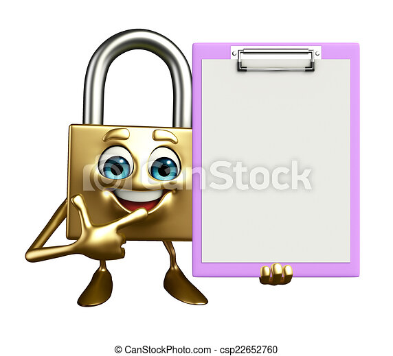 Lock Character with notepad - csp22652760