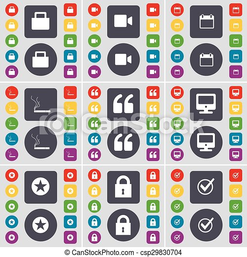 Lock, Film camera, Calendar, Cigarette, Quotation mark, Monitor, Star, Lock, Tick icon symbol. A large set of flat, colored buttons for your design. Vector - csp29830704