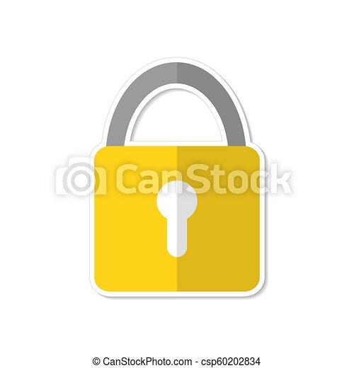 Lock icon flat design in cartoon style, stock vector illustration - csp60202834