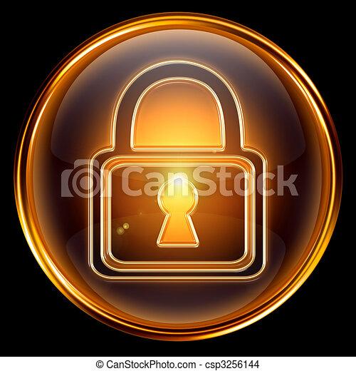 Lock icon gold, isolated on black background - csp3256144