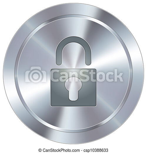 Lock icon on industrial button - csp10388633