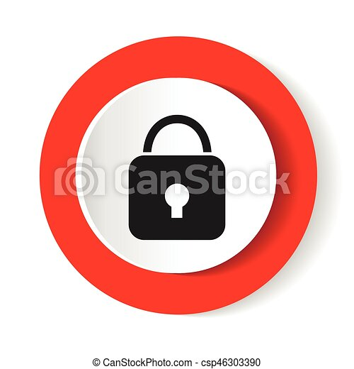 Lock icon. Red glossy circle web icon on white background - csp46303390