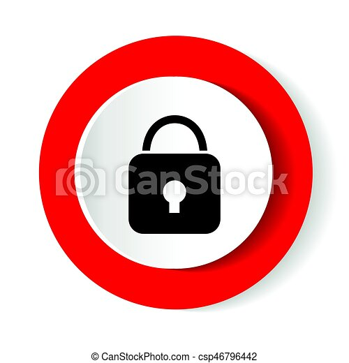 Lock icon. Red glossy circle web icon on white background - csp46796442